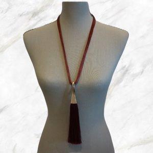 Jewelry - 4/$30 🌷 Long Maroon Tassel Necklace